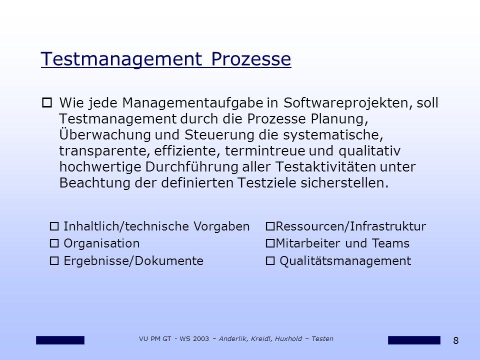 8 VU PM GT - WS 2003 – Anderlik, Kreidl, Huxhold – Testen Testmanagement Prozesse o Wie jede Managementaufgabe in Softwareprojekten, soll Testmanagement durch die Prozesse Planung, Überwachung und Steuerung die systematische, transparente, effiziente, termintreue und qualitativ hochwertige Durchführung aller Testaktivitäten unter Beachtung der definierten Testziele sicherstellen.