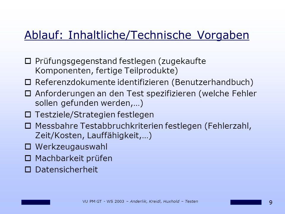 9 VU PM GT - WS 2003 – Anderlik, Kreidl, Huxhold – Testen Ablauf: Inhaltliche/Technische Vorgaben oPrüfungsgegenstand festlegen (zugekaufte Komponenten, fertige Teilprodukte) oReferenzdokumente identifizieren (Benutzerhandbuch) oAnforderungen an den Test spezifizieren (welche Fehler sollen gefunden werden,…) oTestziele/Strategien festlegen oMessbahre Testabbruchkriterien festlegen (Fehlerzahl, Zeit/Kosten, Lauffähigkeit,…) oWerkzeugauswahl oMachbarkeit prüfen oDatensicherheit