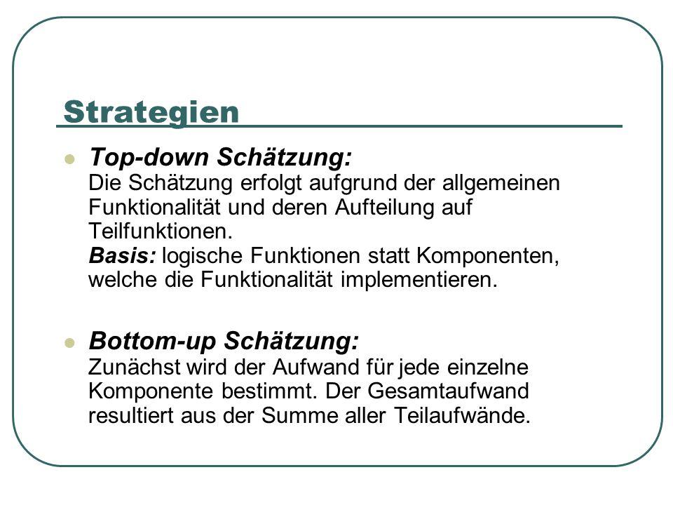 Strategien Top-down Schätzung: Die Schätzung erfolgt aufgrund der allgemeinen Funktionalität und deren Aufteilung auf Teilfunktionen. Basis: logische