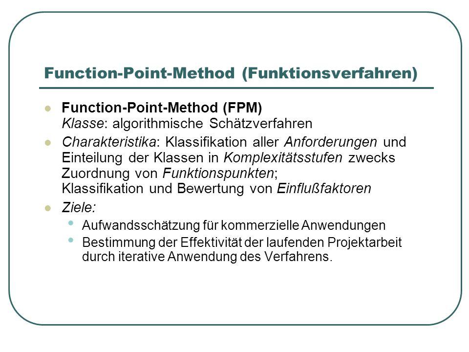 Function-Point-Method (Funktionsverfahren) Function-Point-Method (FPM) Klasse: algorithmische Schätzverfahren Charakteristika: Klassifikation aller An