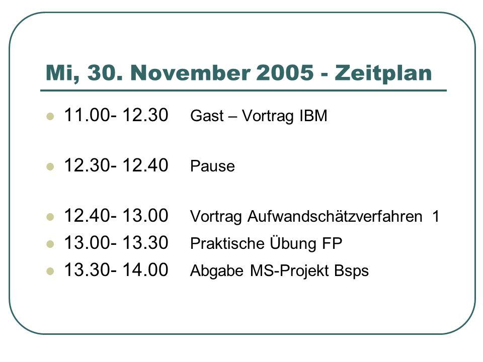 Mi, 30. November 2005 - Zeitplan 11.00- 12.30 Gast – Vortrag IBM 12.30- 12.40 Pause 12.40- 13.00 Vortrag Aufwandschätzverfahren1 13.00- 13.30 Praktisc