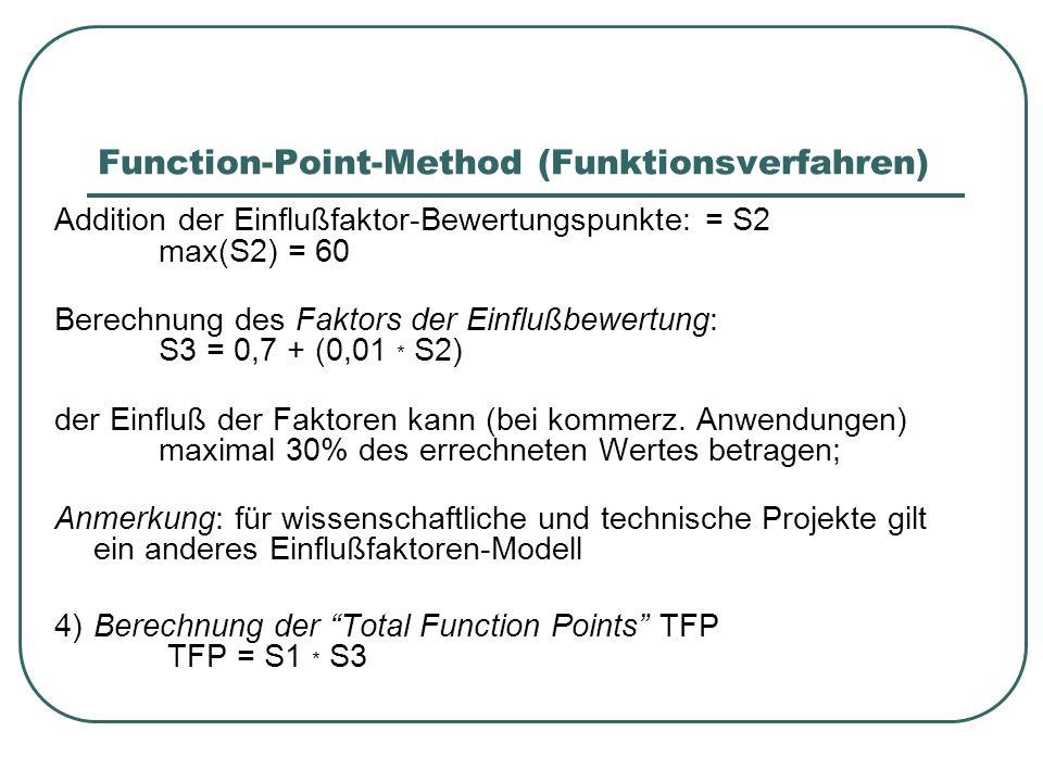 Function-Point-Method (Funktionsverfahren) Addition der Einflußfaktor-Bewertungspunkte: = S2 max(S2) = 60 Berechnung des Faktors der Einflußbewertung: