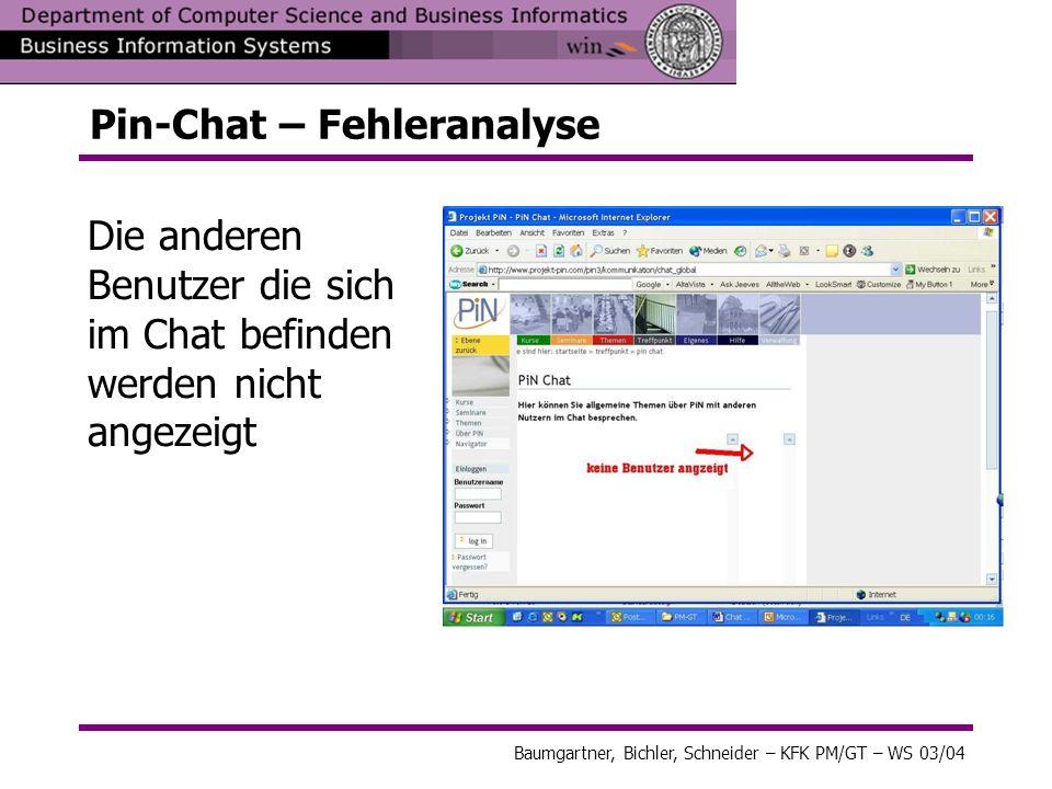 Pin-Chat – Fehleranalyse Die anderen Benutzer die sich im Chat befinden werden nicht angezeigt