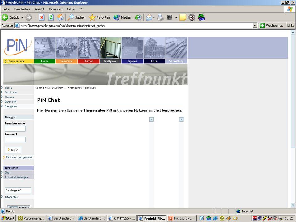 Pin-Chat – Fehleranalyse Pin-Seite wird überschrieben –Beim Öffnen des Chats wird die Pin-Seite überschrieben –Der Chat wird nicht in der entsprechenden Seite im Frame geöffnet – keinen Navigation im Projekt-Pin mehr möglich –IE 6.0.2800.1106