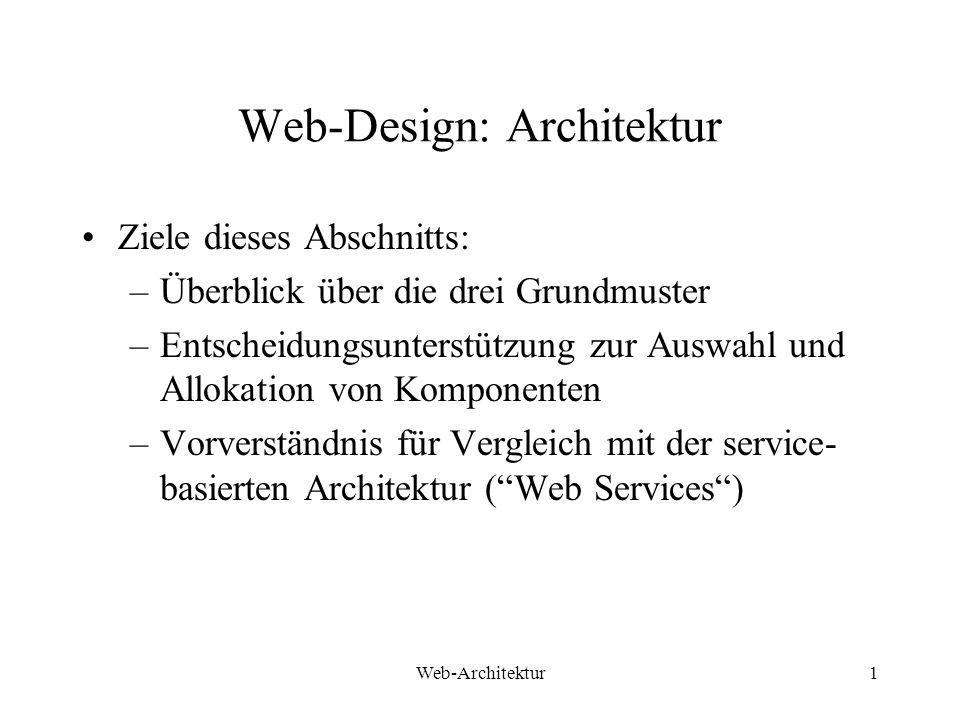 Web-Architektur1 Web-Design: Architektur Ziele dieses Abschnitts: –Überblick über die drei Grundmuster –Entscheidungsunterstützung zur Auswahl und All
