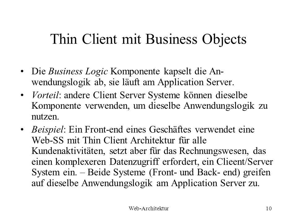 Web-Architektur10 Thin Client mit Business Objects Die Business Logic Komponente kapselt die An- wendungslogik ab, sie läuft am Application Server. Vo