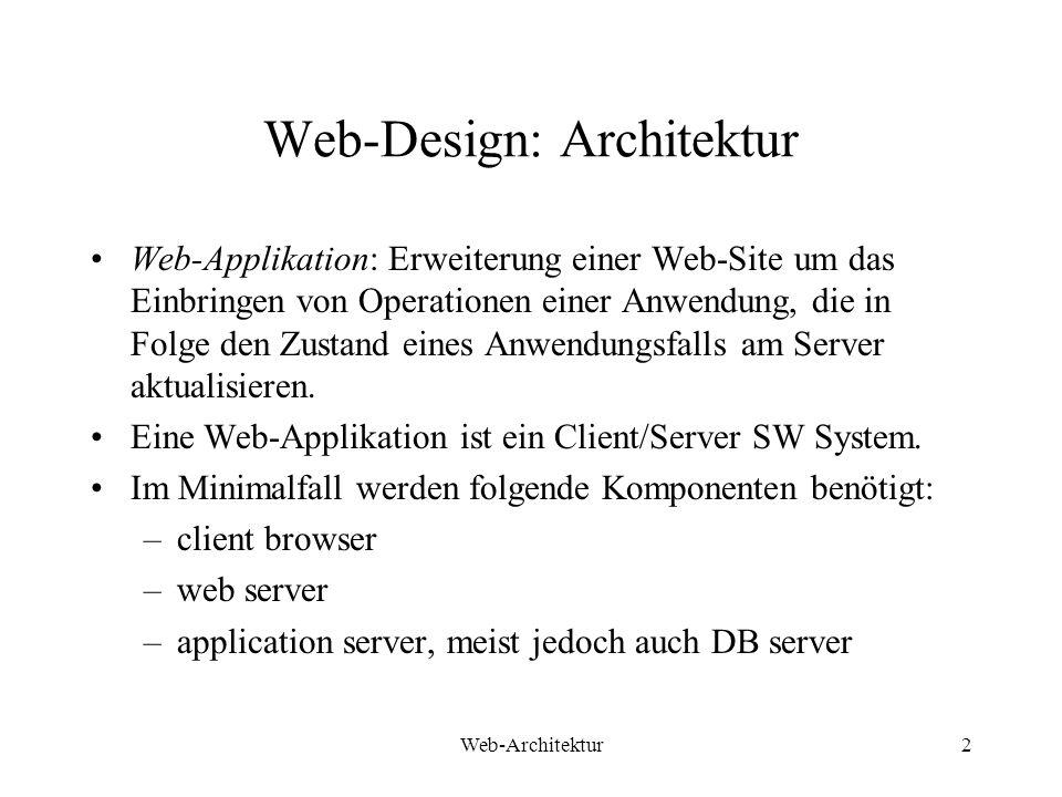 Web-Architektur3 Web-Design: 3 Architekturpatterns Thin Web Client: Wird für Internet Applikationen verwendet, bei welchen kein Einfluss auf die Konfiguration des Client besteht.