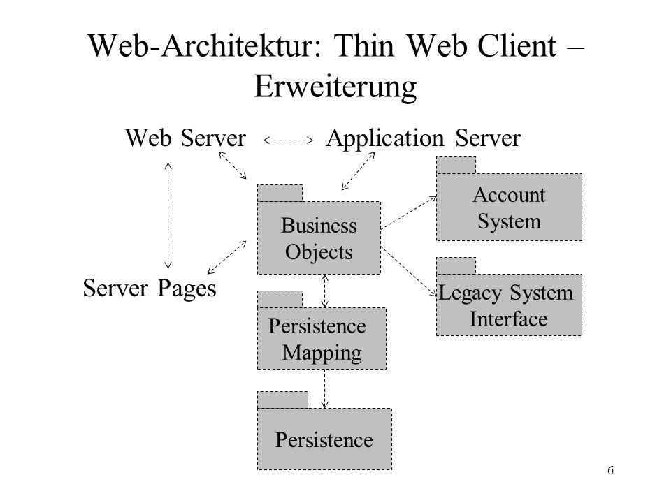 Web-Architektur17 Web-Delivery Architektur - Struktur Signifikantester Unterschied zu den anderen Mustern: es kommen Protokolle (ggf.
