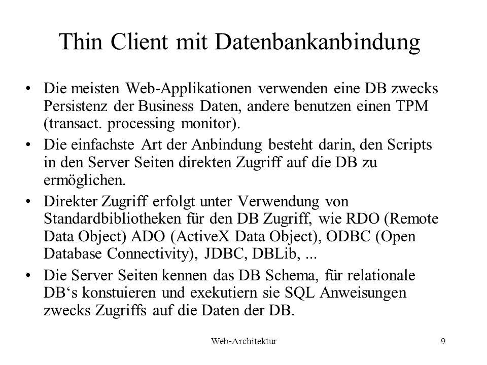 Web-Architektur9 Thin Client mit Datenbankanbindung Die meisten Web-Applikationen verwenden eine DB zwecks Persistenz der Business Daten, andere benut