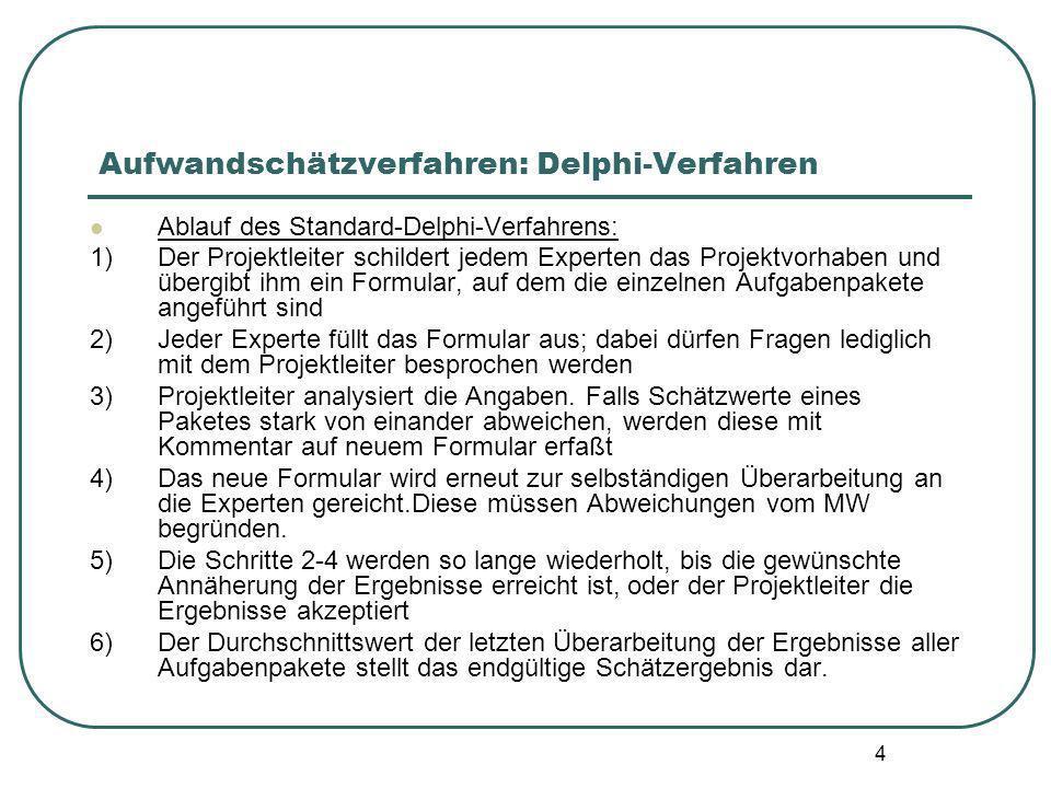 4 Aufwandschätzverfahren: Delphi-Verfahren Ablauf des Standard-Delphi-Verfahrens: 1) Der Projektleiter schildert jedem Experten das Projektvorhaben un