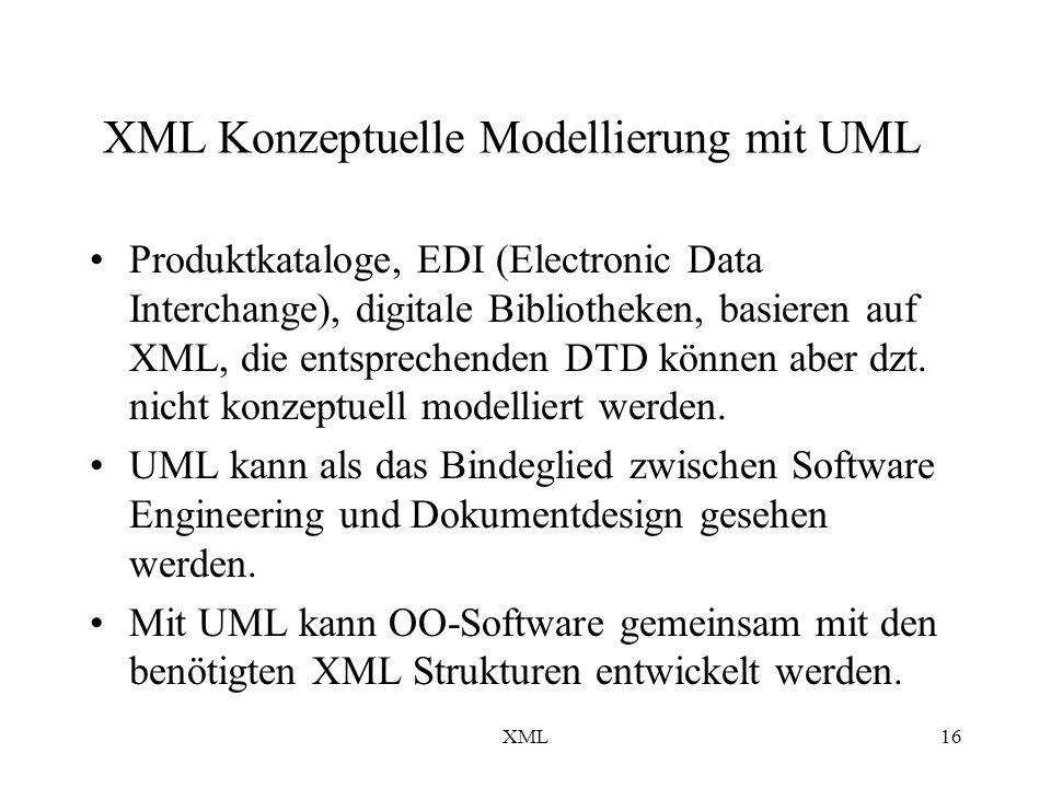 XML16 XML Konzeptuelle Modellierung mit UML Produktkataloge, EDI (Electronic Data Interchange), digitale Bibliotheken, basieren auf XML, die entsprechenden DTD können aber dzt.