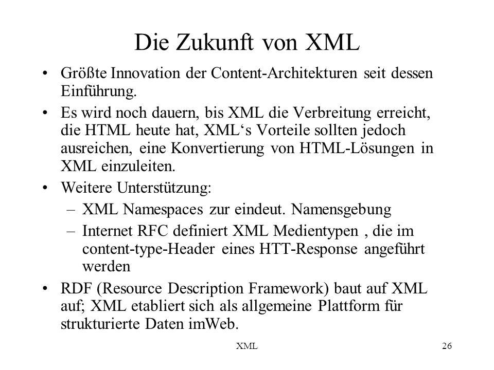 XML26 Die Zukunft von XML Größte Innovation der Content-Architekturen seit dessen Einführung.
