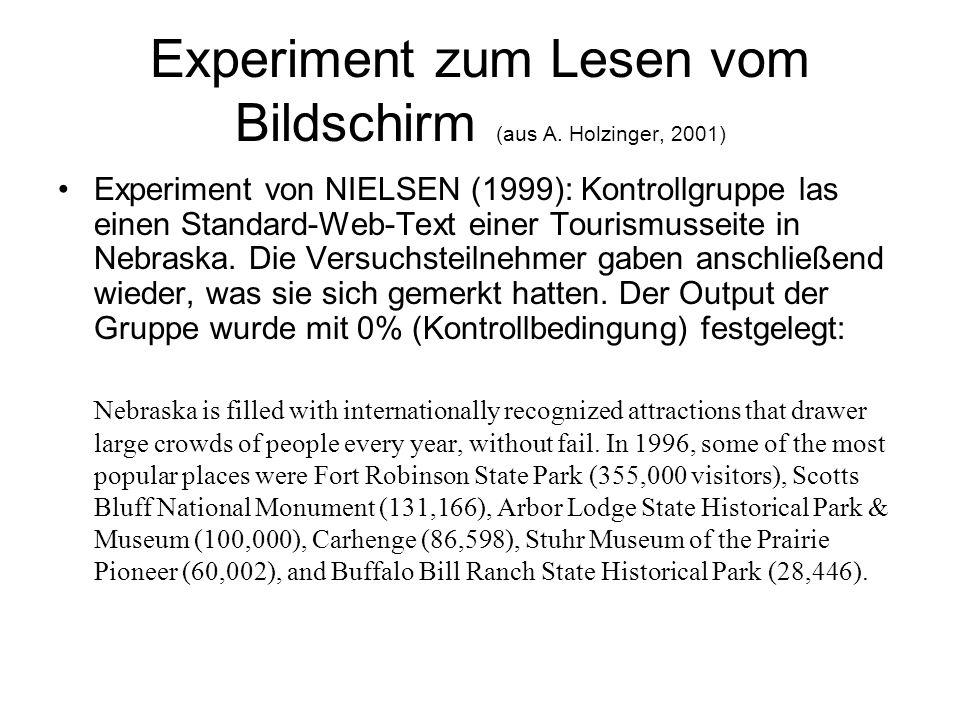 Experiment zum Lesen vom Bildschirm (aus A.