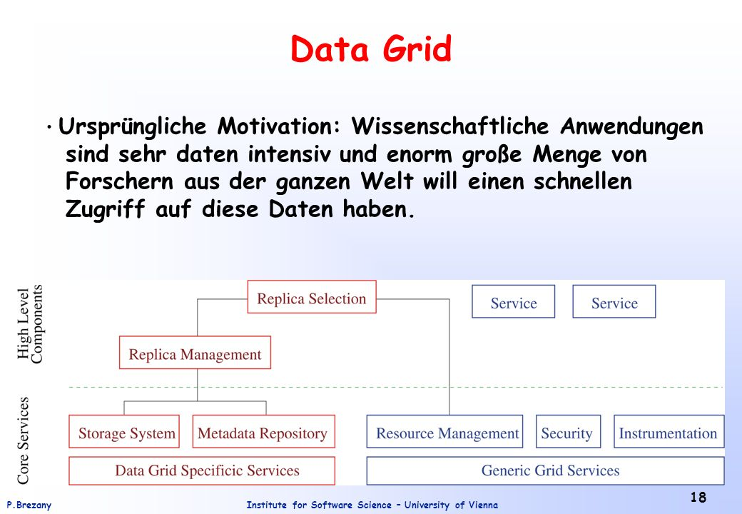 Institute for Software Science – University of ViennaP.Brezany 18 Data Grid Ursprüngliche Motivation: Wissenschaftliche Anwendungen sind sehr daten in