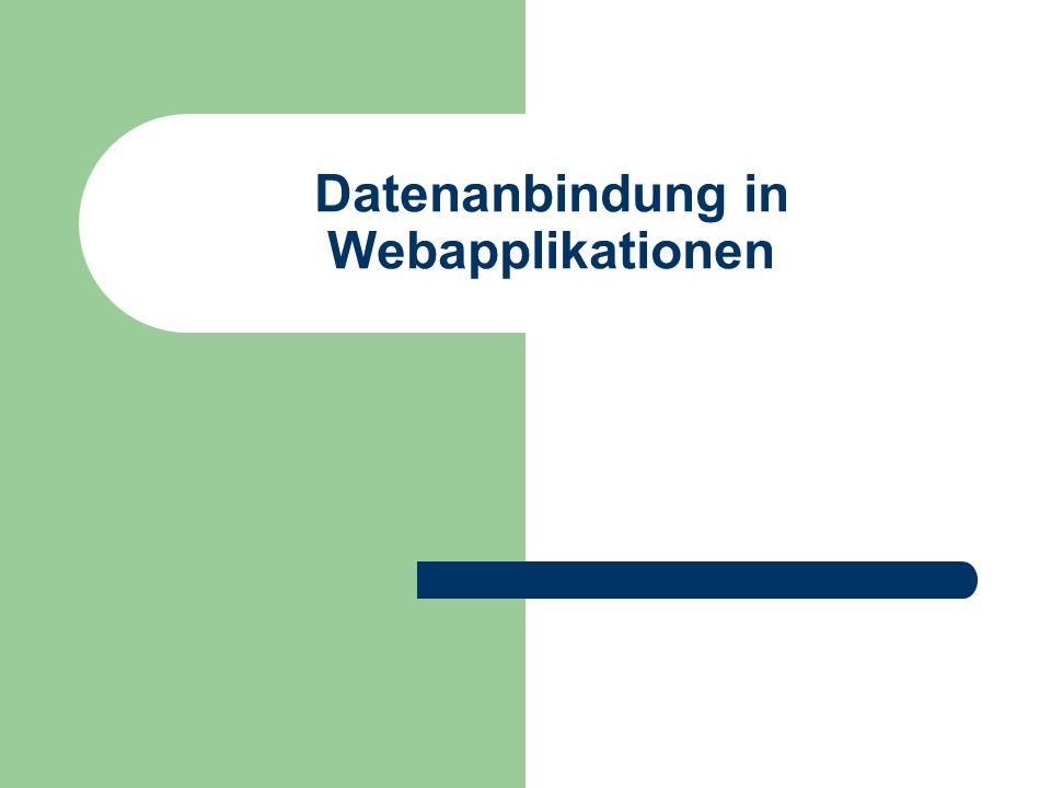 2 Überblick In diesem Kapitel: Datenpersistenz allgemeine Aspekte der Datenpersistenz in Webapplikationen Datenanbindung in serverseitigen Applikationen Webapplikationstechnologien: PHP, ASP, ASP.NET, JSP