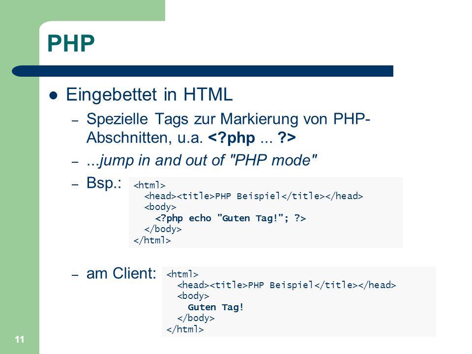 11 PHP Eingebettet in HTML – Spezielle Tags zur Markierung von PHP- Abschnitten, u.a.
