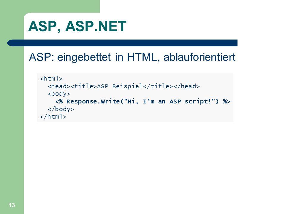 13 ASP, ASP.NET ASP: eingebettet in HTML, ablauforientiert ASP Beispiel