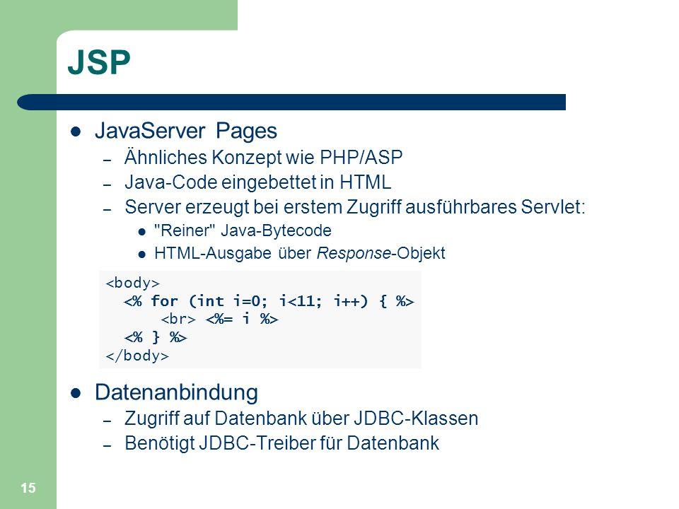 15 JSP JavaServer Pages – Ähnliches Konzept wie PHP/ASP – Java-Code eingebettet in HTML – Server erzeugt bei erstem Zugriff ausführbares Servlet: Reiner Java-Bytecode HTML-Ausgabe über Response-Objekt Datenanbindung – Zugriff auf Datenbank über JDBC-Klassen – Benötigt JDBC-Treiber für Datenbank