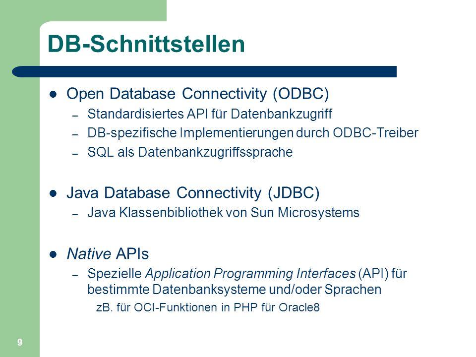 9 DB-Schnittstellen Open Database Connectivity (ODBC) – Standardisiertes API für Datenbankzugriff – DB-spezifische Implementierungen durch ODBC-Treiber – SQL als Datenbankzugriffssprache Java Database Connectivity (JDBC) – Java Klassenbibliothek von Sun Microsystems Native APIs – Spezielle Application Programming Interfaces (API) für bestimmte Datenbanksysteme und/oder Sprachen zB.