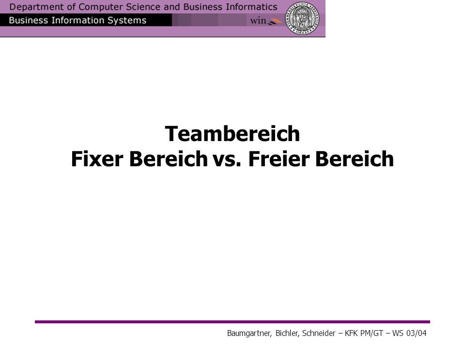 Baumgartner, Bichler, Schneider – KFK PM/GT – WS 03/04 Teambereich Fixer Bereich vs. Freier Bereich