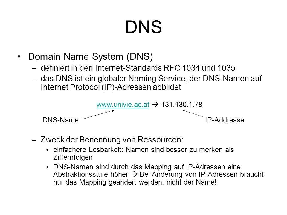 DNS Aufbau der DNS-Namen –Hierarchische Anordnung der DNS-Namen in Domains –Domains im Namen sind durch Punkte getrennt, von rechts (oberste Ebene) nach links (unterste Ebene) –Top-Level Domains (TLD) sind Domains der obersten Ebene.