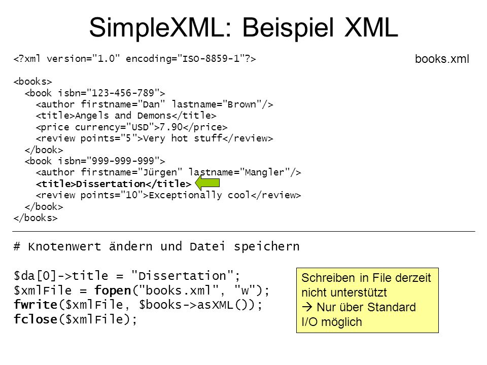 SimpleXML: Beispiel XML Angels and Demons 7.90 Very hot stuff Dissertation Exceptionally cool books.xml # Knotenwert ändern und Datei speichern $da[0]