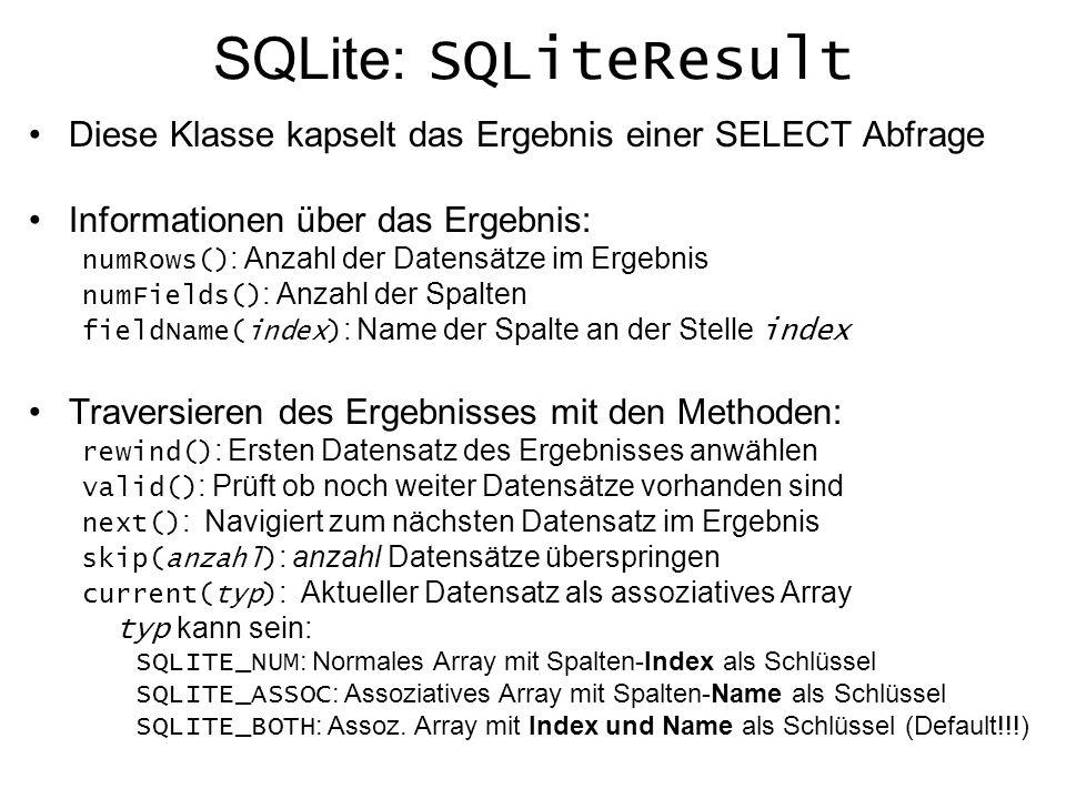 SQLite: SQLiteResult Beispiel: Ausgabe des Ergebnisses in HTML-Tabelle <.