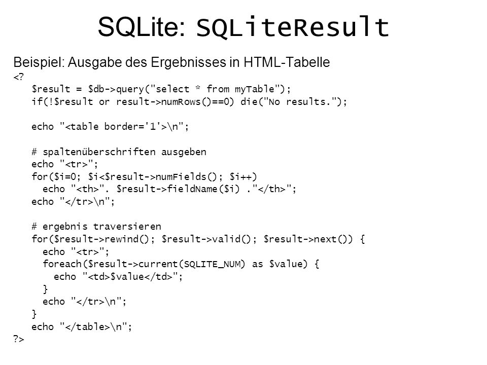 SQLite: Weitere Hilfe Offizielle Dokumentation zu SQLite: http://www.php.net/manual/en/ref.sqlite.php Beispiel für eine einfache SQLite Konsole http://almighty.pri.univie.ac.at/~derntl/examples/sqlite/console.php (Quelltext einsehbar mit der Endung .phps ) Beispiel für Datenbank anlegen: http://almighty.pri.univie.ac.at/~mangler/sql.php