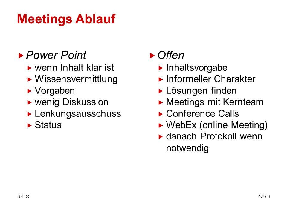 11.01.06Folie 11 Meetings Ablauf Power Point wenn Inhalt klar ist Wissensvermittlung Vorgaben wenig Diskussion Lenkungsausschuss Status Offen Inhaltsv