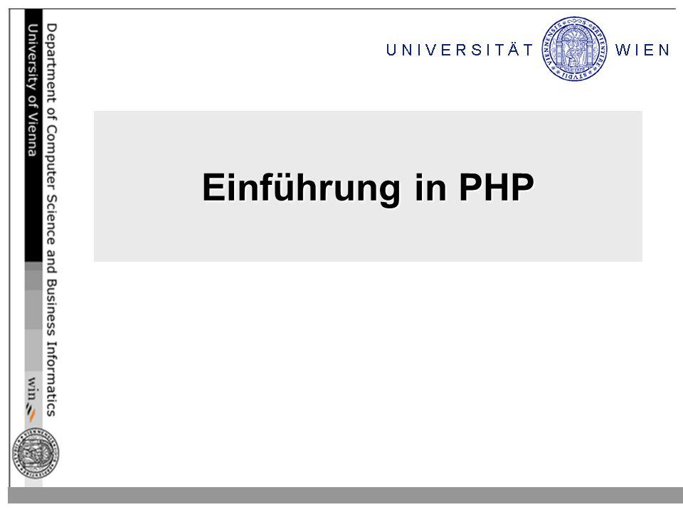 Allgemeines Allgemeines zu PHP –steht für PHP Hypertext Preprocessor –ist eine Skriptsprache –wird eingebettet in HTML –wird serverseitig verarbeitet –wird seit 1994 entwickelt, ist sehr beliebt –ist angelehnt an C, Java, und Perl –besitzt APIs zu sehr vielen DBS PHP ist verfügt über umfangreiche Dokumentation: –Homepage:http://www.php.net oder http://at.php.nethttp://www.php.nethttp://at.php.net –Handbuch: http://at.php.net/manualhttp://at.php.net/manual