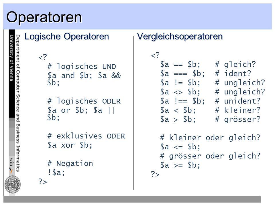 Operatoren Logische Operatoren <.