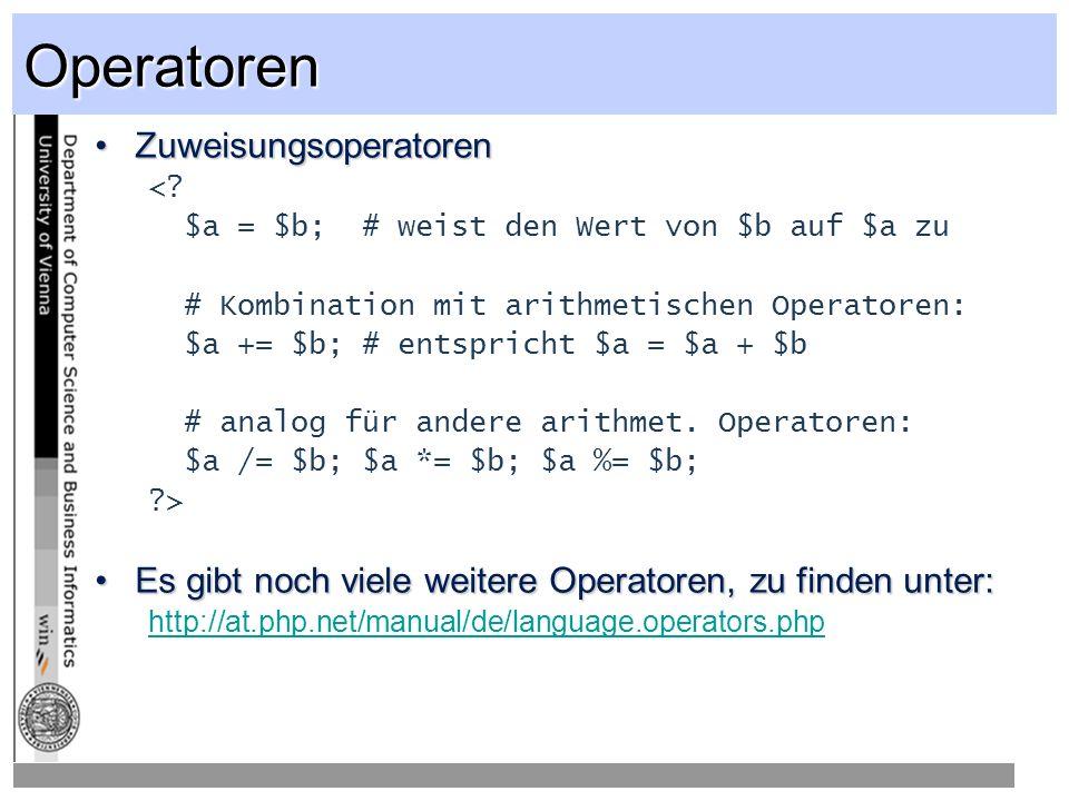Operatoren ZuweisungsoperatorenZuweisungsoperatoren <.