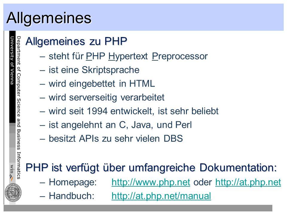 PHP-Code 4 verschiedene Möglichkeiten zur Einbettung in HTML (abhängig von der PHP-Konfiguration) … Kommentare innerhalb von PHP-Code <.