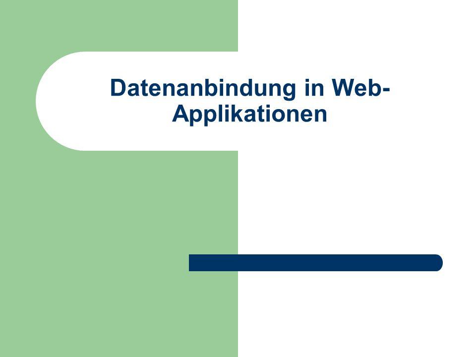 2 Überblick In diesem Kapitel: – Datenpersistenz allgemeine Aspekte der Datenpersistenz in Web- Applikationen Datenbankanbindung in serverseitigen Applikationen – Web-Applikationstechnologien: PHP, ASP, ASP.NET, JSP – Ausführliche Einführung in PHP – Kurze Einführung in SQL als Datenbanksprache