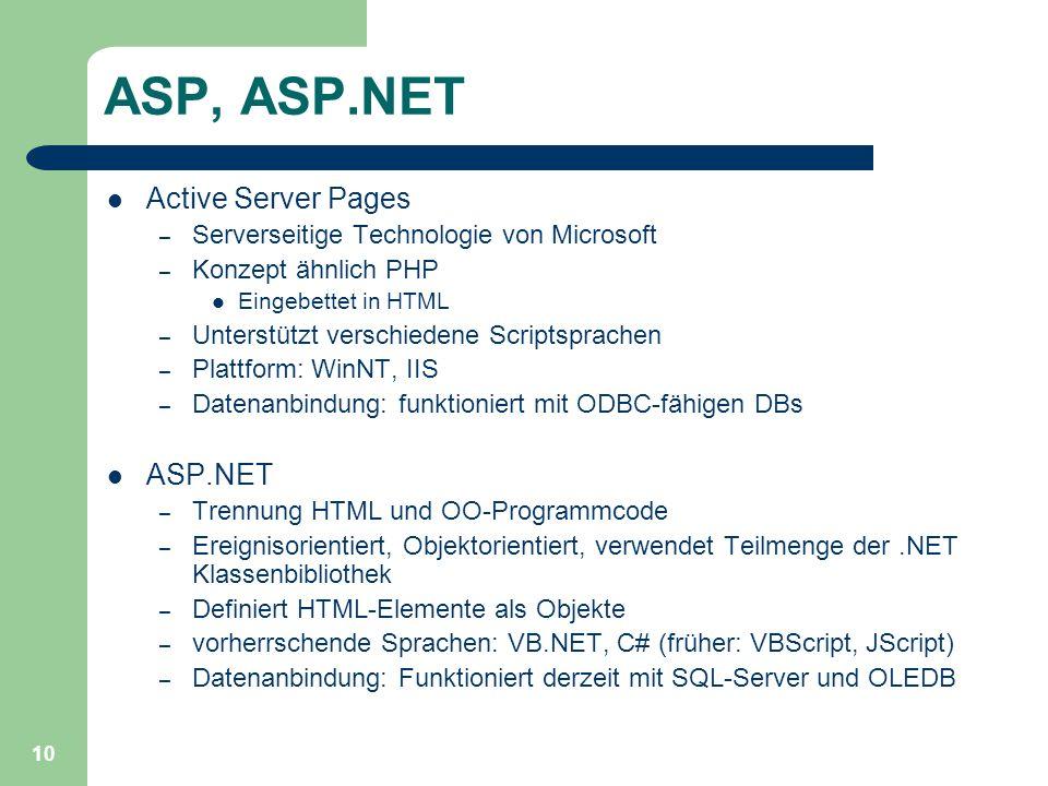 10 ASP, ASP.NET Active Server Pages – Serverseitige Technologie von Microsoft – Konzept ähnlich PHP Eingebettet in HTML – Unterstützt verschiedene Scr