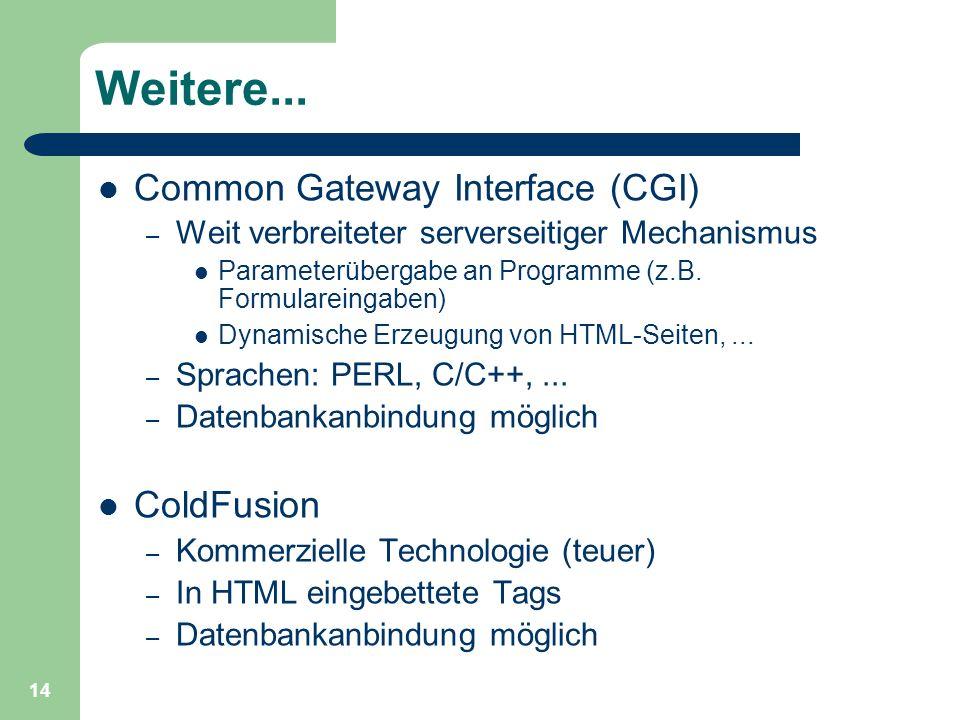 14 Weitere... Common Gateway Interface (CGI) – Weit verbreiteter serverseitiger Mechanismus Parameterübergabe an Programme (z.B. Formulareingaben) Dyn
