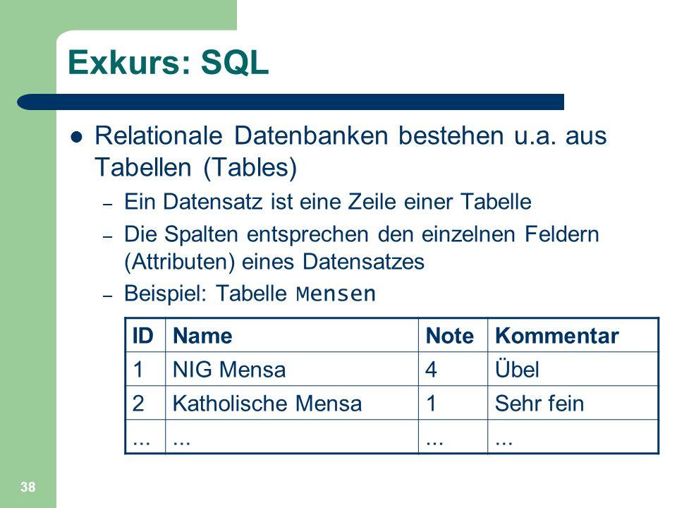 38 Exkurs: SQL Relationale Datenbanken bestehen u.a. aus Tabellen (Tables) – Ein Datensatz ist eine Zeile einer Tabelle – Die Spalten entsprechen den