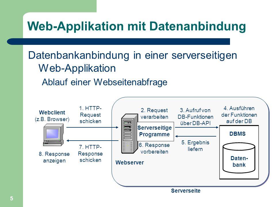 6 Technologien für Web-Applikationen Überblick – Datenbankschnittstellen ODBC/JDBC Native – einige serverseitige Scriptumgebungen: PHP ASP, ASP.NET JSP ColdFusion – Vergleich