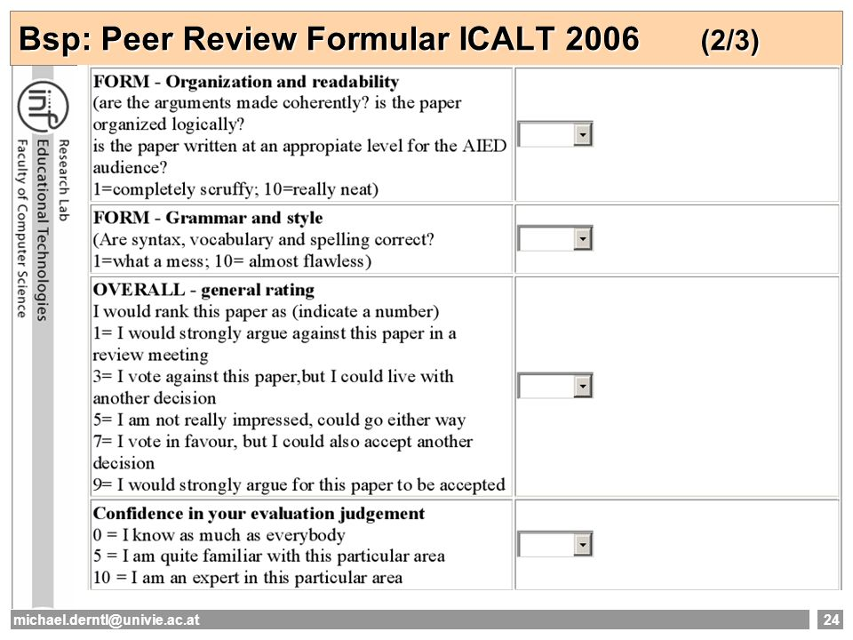 michael.derntl@univie.ac.at24 Bsp: Peer Review Formular ICALT 2006 (2/3)