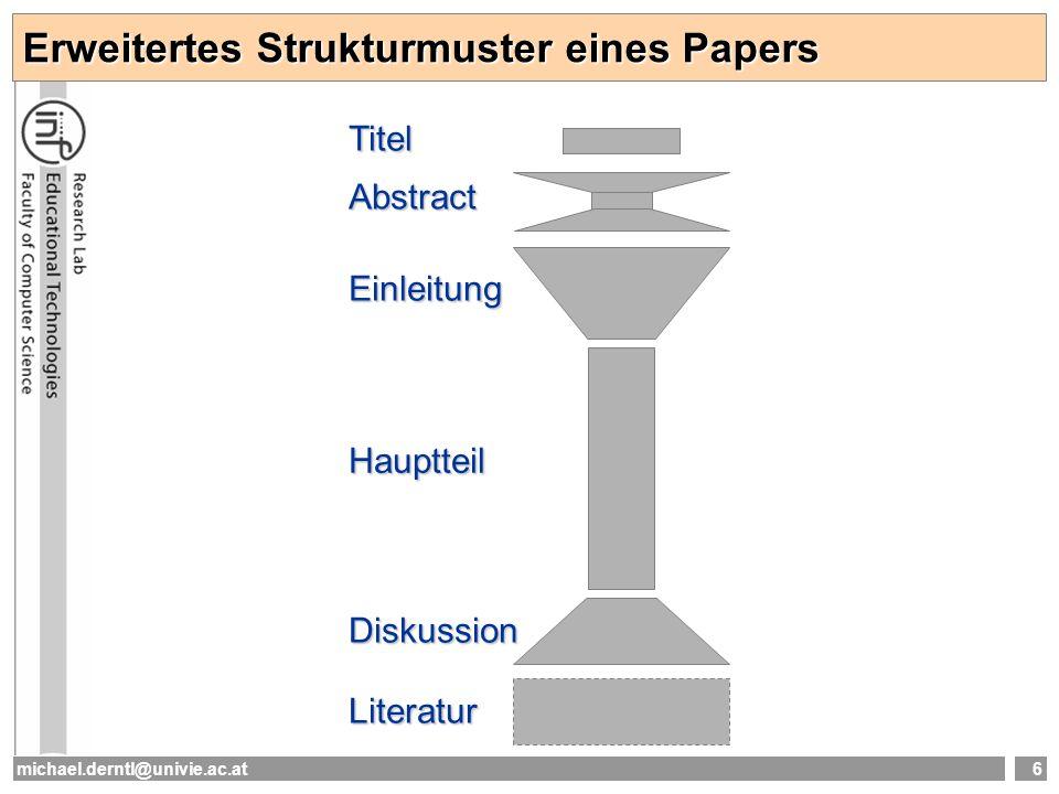 michael.derntl@univie.ac.at6 Erweitertes Strukturmuster eines Papers Titel Abstract Einleitung Hauptteil Diskussion Literatur