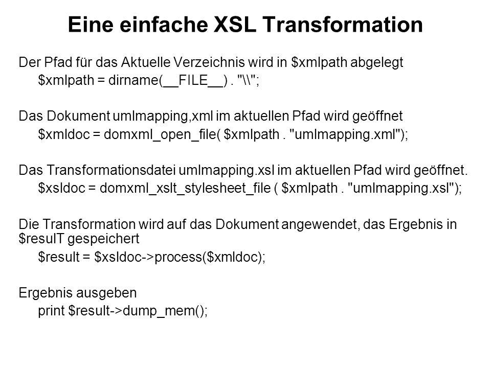Eine einfache XSL Transformation Der Pfad für das Aktuelle Verzeichnis wird in $xmlpath abgelegt $xmlpath = dirname(__FILE__).