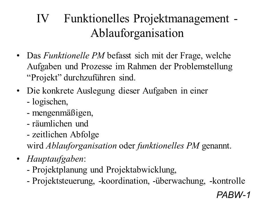 PABW-42 Projektplanung - Planungsablauf 6) Kostenplanung Problematik: Schätzung zu Projektbeginn sehr problematisch, da Grundlagen/Informationen hiefür fehlen.