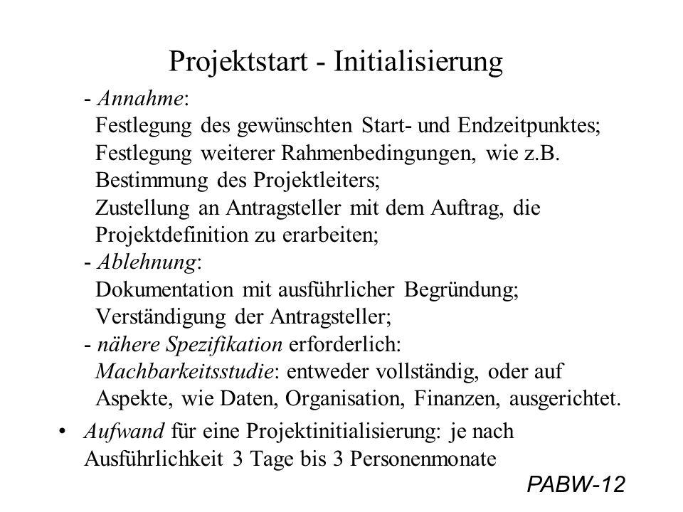 PABW-12 Projektstart - Initialisierung - Annahme: Festlegung des gewünschten Start- und Endzeitpunktes; Festlegung weiterer Rahmenbedingungen, wie z.B