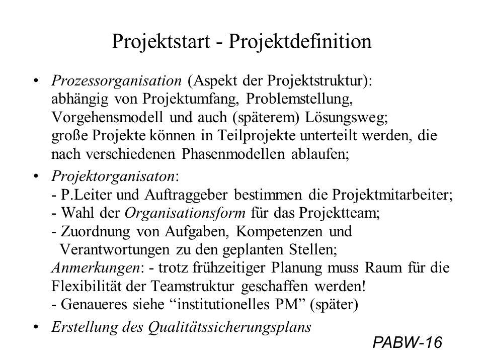 PABW-16 Projektstart - Projektdefinition Prozessorganisation (Aspekt der Projektstruktur): abhängig von Projektumfang, Problemstellung, Vorgehensmodel