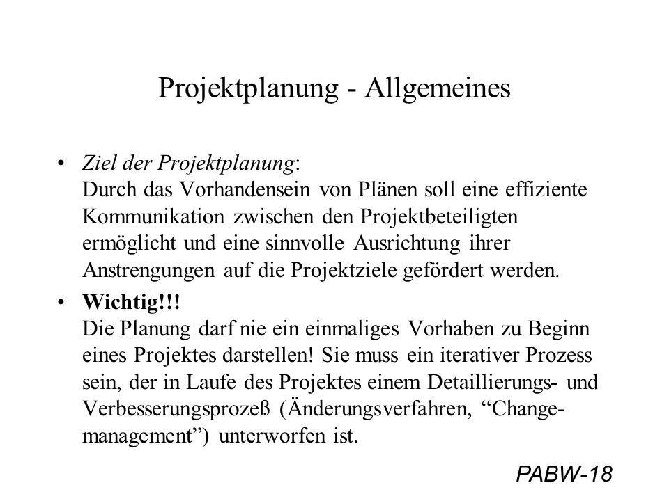 PABW-18 Projektplanung - Allgemeines Ziel der Projektplanung: Durch das Vorhandensein von Plänen soll eine effiziente Kommunikation zwischen den Proje