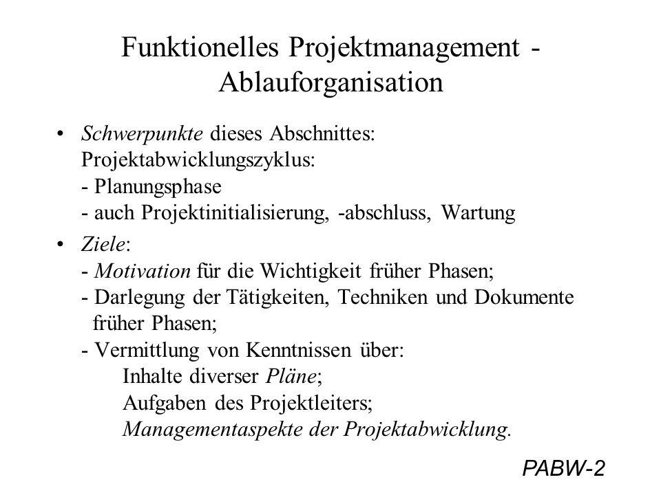 PABW-2 Funktionelles Projektmanagement - Ablauforganisation Schwerpunkte dieses Abschnittes: Projektabwicklungszyklus: - Planungsphase - auch Projekti