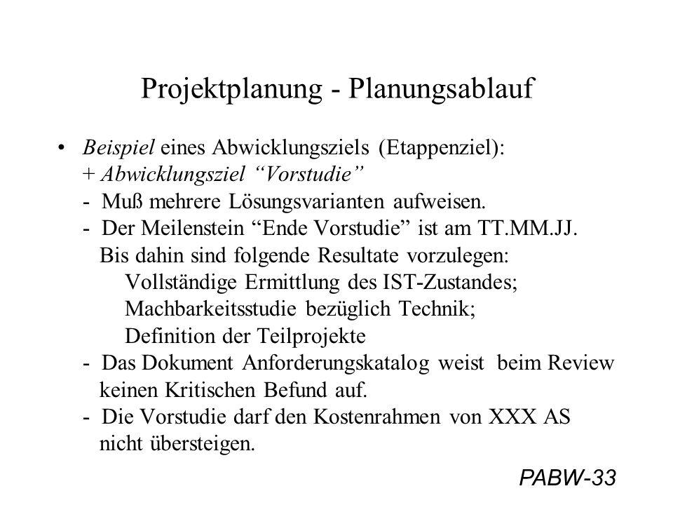 PABW-33 Projektplanung - Planungsablauf Beispiel eines Abwicklungsziels (Etappenziel): + Abwicklungsziel Vorstudie - Muß mehrere Lösungsvarianten aufweisen.