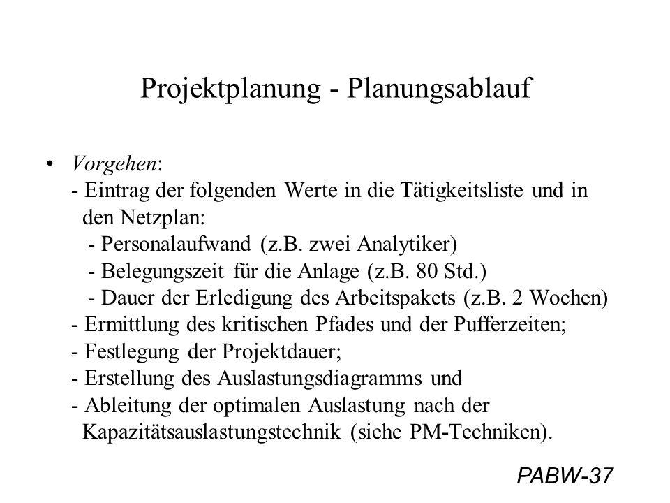 PABW-37 Projektplanung - Planungsablauf Vorgehen: - Eintrag der folgenden Werte in die Tätigkeitsliste und in den Netzplan: - Personalaufwand (z.B. zw