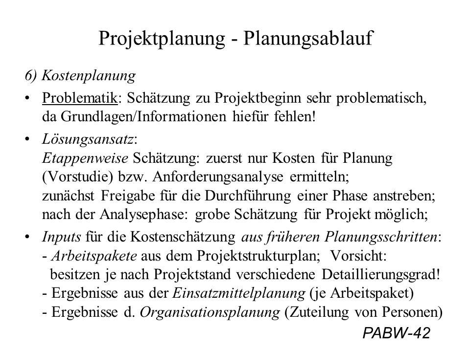 PABW-42 Projektplanung - Planungsablauf 6) Kostenplanung Problematik: Schätzung zu Projektbeginn sehr problematisch, da Grundlagen/Informationen hiefü