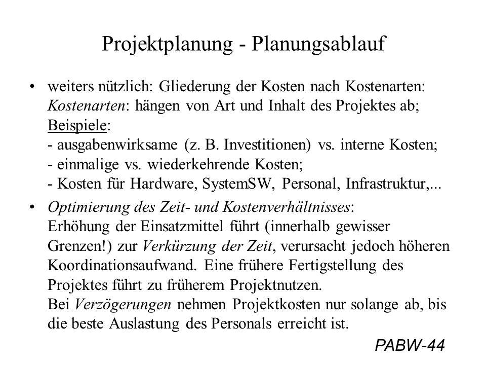 PABW-44 Projektplanung - Planungsablauf weiters nützlich: Gliederung der Kosten nach Kostenarten: Kostenarten: hängen von Art und Inhalt des Projektes ab; Beispiele: - ausgabenwirksame (z.